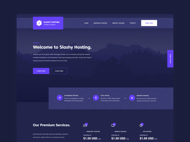 Slashy Hosting Web Design (2018) branding inspiration dark ux design minecraft hosting modern colorful web design ui design mockup