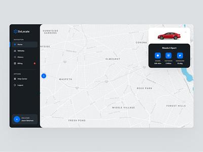 GoLocate UI Design car tracker tracker app tracker user interface sleek blue control panel logo branding ux design dark ui design web design colorful modern mockup inspiration
