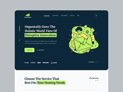 Geck Cloud Site Design hosting template alternative green hosting logo branding ux design dark ui design web design colorful modern mockup inspiration