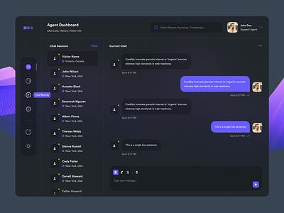 Dashboard - Live Chat Agent Panel (Revised) abstract purple background blur logo illustration design dark ui design web design colorful modern mockup inspiration
