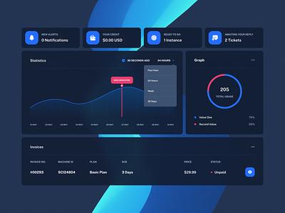 RackCrate Dashboard - Preview (Updated 2021) blue dark mode graphic design panel control panel dashboard logo illustration design dark ui design web design colorful modern mockup inspiration