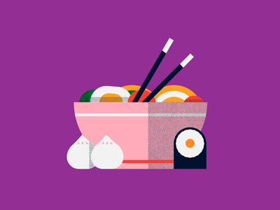 Ramen ラーメン egg bao sushi ramen japanese food japan food shapes noise badge texture character icon vector illustration flat