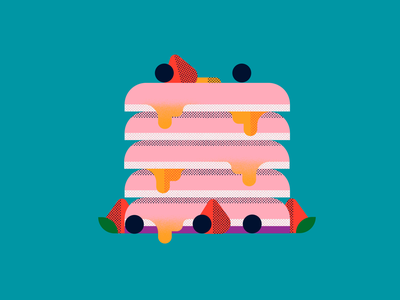 Hotcake honey fruit blueberry strawberry pancake hotcake breakfast food shapes texture character icon vector illustration flat