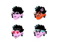 Jairumojis glasses suspicious angry naruto love emotion emoji sticker face character design character icon illustration flat