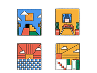 Mini stories square geometry couple flowers cactus ocean beach sun city cat love editorial texture character icon illustration flat