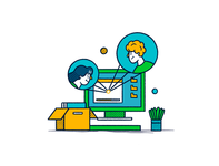 Recruits outline book desk tech plant box computer contacts recruit person character design character icon illustration flat