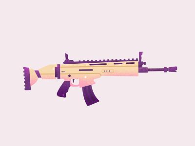 SCAR weapon fortnite editorial texture brush gun flat icon design illustration
