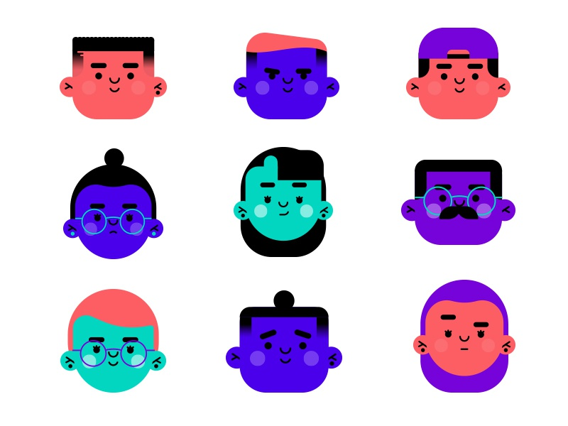 Faces people face flat icon person illustration