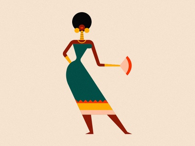 Lady afro lady character vector editorial texture flat