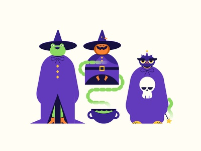 Witches magic skull character halloween pumpkin owl frog witch vector icon flat
