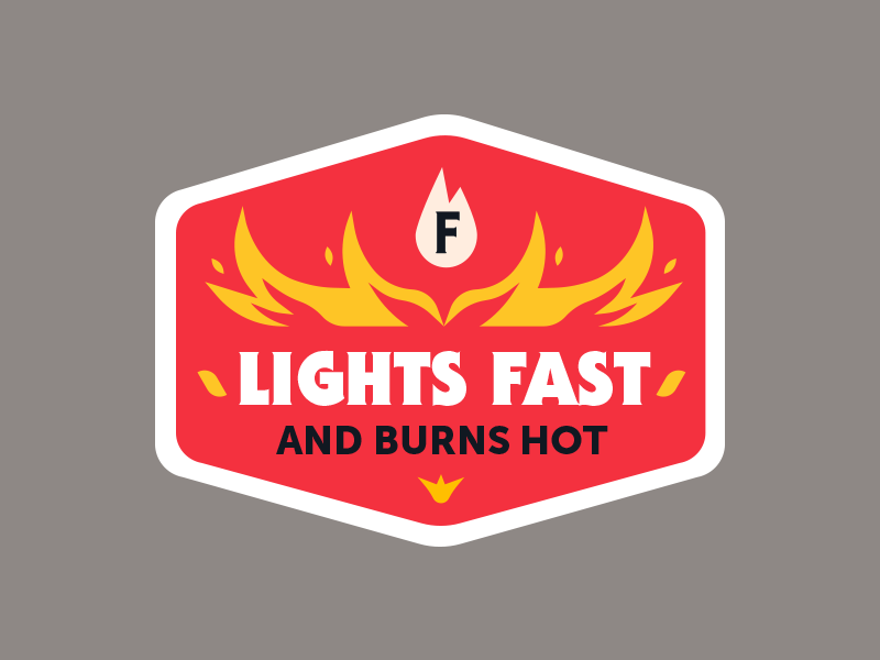 Badge charcoal burn fire logo badge sticker vector icon flat