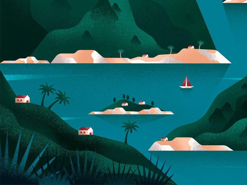 Islands plants tree mountains beach palms house sea lake island