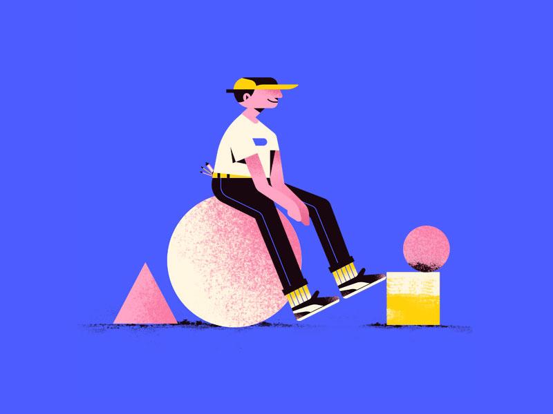 Boy pants shoes cap circle boy character vector illustration flat