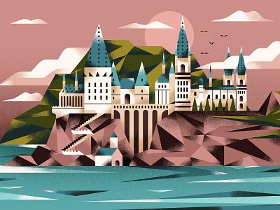 Hogwarts School lake beach island magic landscape castle wizard hogwarts harrypotter texture vector illustration flat