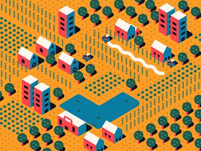 Isometric Farm lake shadow icon farming isometric art isometric trees map tractor farmer farm vector illustration flat