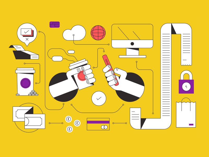 Business shop invoice network money pc phone coffee buy technology techie tech pay pattern icon vector illustration flat
