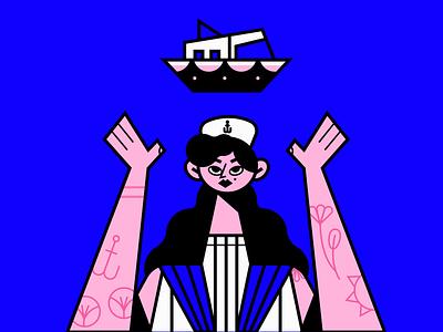 Sailor tattoo portrait girl marine sailor ship character icon boat illustration flat