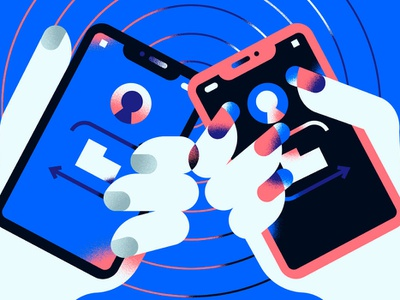 NFC Connection app smartphone technology tech connection cellphone hand texture character icon vector illustration flat