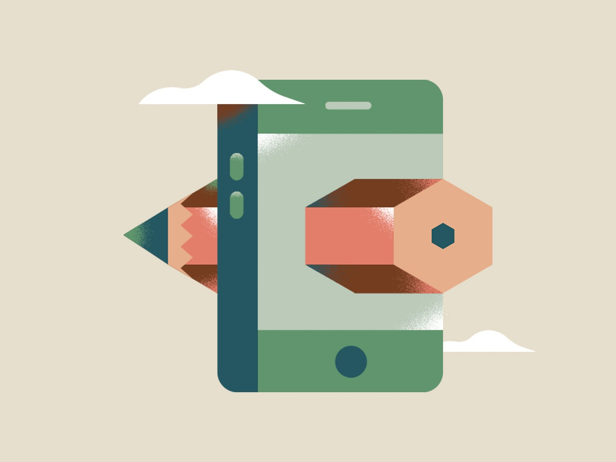 Ui Illustration clouds cellphone phone pencil ui app editorial texture icon vector illustration flat