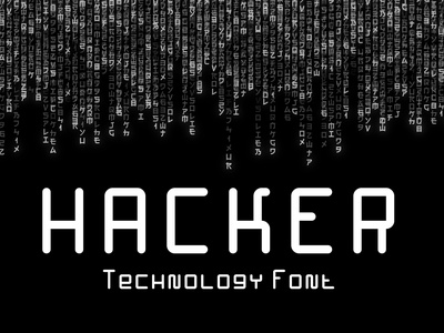 Hacker – Technology Font cyber futuristic digital code network coding internet hacking software geometric rounded corner technology smooth rounded typeface 1980 80s computer hacker