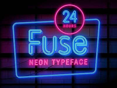Fuse – Realistic Neon Typeface 3d modern night bulb neon light typeface neon fuse