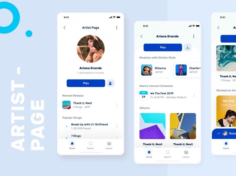 Music Play Artist Page mobile ui design mobile ui mobile design mobile app design app design ui ux uiux design ui  ux design ux design ui design