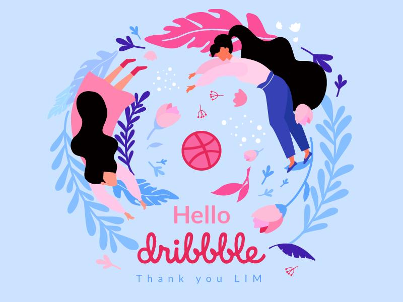 Hello, dribbble! plant leaf flower graphic debuts first shot ball design illustration