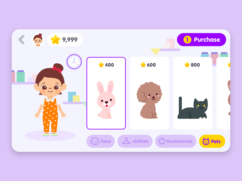 Timo_Kids Routine App_Shop product design purchase charater shop icons illustration color ios home uiux ux ui minimal flat design mobile app mobile application app kids