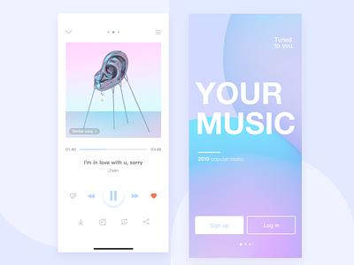 Music app-Play page design icon illustration ux ui