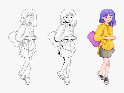 Miss 1 Procedure drawing procedure doodle line cartoon comic character design character girl design illustration