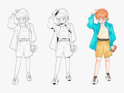 Procedure of Miss 3 line doodle comic character design character cartoon girl design illustration
