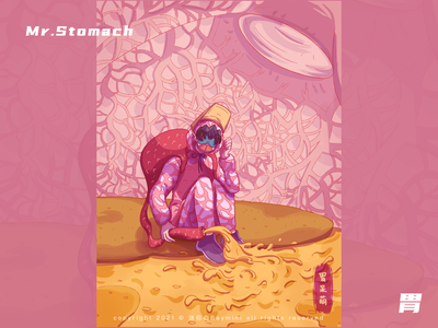 Mr.Stomach organ viscera stomach character design illustration