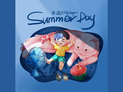 Summer Day home life happiness boy cat pet vacation summer holiday illustration