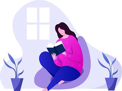 Read book flat vector illustration design