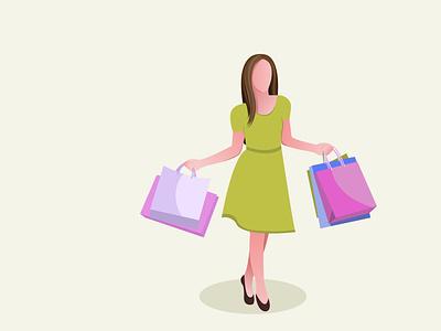 Shopping girl flat vector illustration design