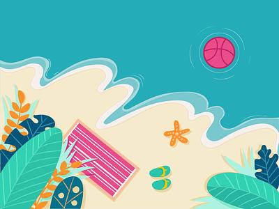 Hello dribbble illustration  ,   starfish slipper sea leaf beach sandy dribbble debuts