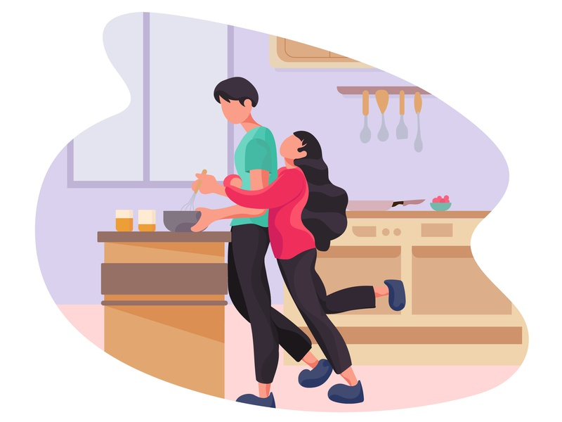 Love House 2 red green ui house design boy girl kitchen lover sweetheart vector illustration illustration