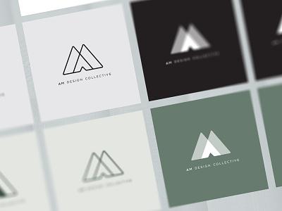 Am Design Collective Logo Variations opacity green variations branding logos graphic design interior design am design collective