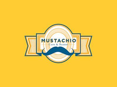 Mustachio Bakery & Cafe Logo macho badge bakery gold mustache cafe logo branding