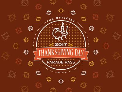 2017 Thanksgiving Parade Pass pass parade badge turkey leaves thanksgiving