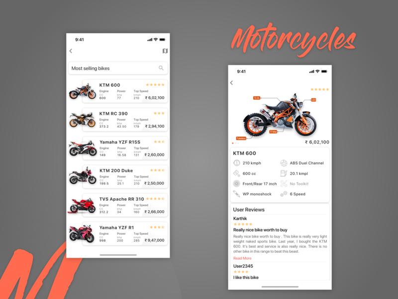 Motocycle App Concept minimal motorcycle design iphone ui app ios