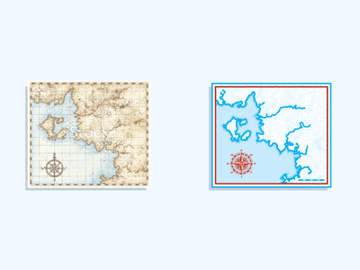 Before & After map topography compass navigation icon cyan explore
