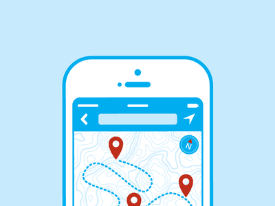 Iphone nav icon dashboard iphone map navigation pin topography icon cyan compass path