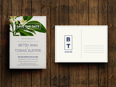 Save the Date - final design! save the date wedding invitation floral layout print leaves grunge