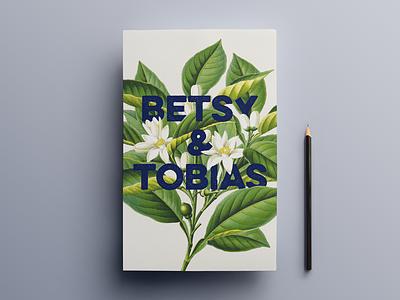 Wedding invite - front wedding flowers floral sans serif print card plant