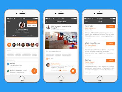 Jobcase for iOS screens mobile profile jobs company tags feed mockup fab material design ios