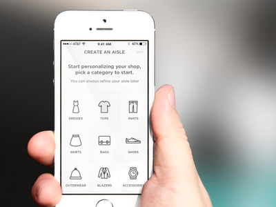 Create an aisle screen category ios mockup clothing retail shopping icon