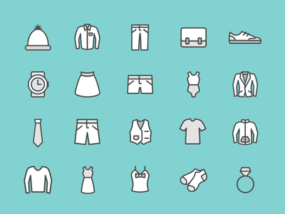 Clothing Icon set accessories shoes shorts pants dresses line clothing icon set icon