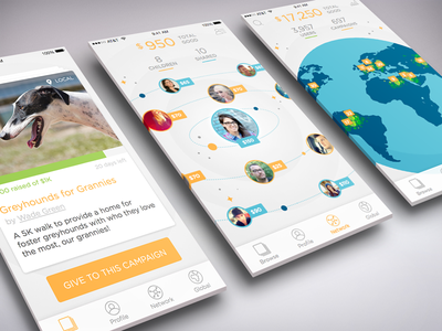Campaign app dollars global network giving donate swipe card campaign ios mobile