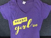 Ready Girl Go Logo on shirt